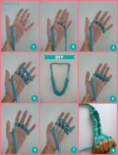 tutorial collar trapillo tejido dedos paso a paso DIY XL crochet necklace with hands