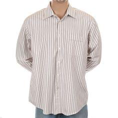 Ben Sherman #DressShirt #FrenchCuffs Striped Button Down Pink Brown 17 34-35 #BenSherman #SomeLikeItUsed
