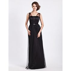 Floor-length Tulle Bridesmaid Dress - Black Plus Sizes Sheath/Column Straps – USD $ 99.99