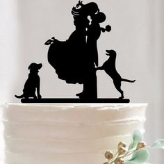 Wedding Cake Topper/ Anniversary Cake Stand (Bride & Groom and Dog)