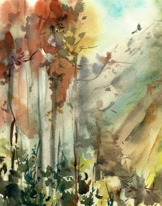 Abstract Landscape Watercolor Painting Art Print, Watrcolour Art, Nature Forest, Wall Art