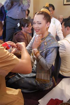 laos Wedding Dresses | ... of the traditional Lao wedding ceremony, Sookhwan , over the weekend