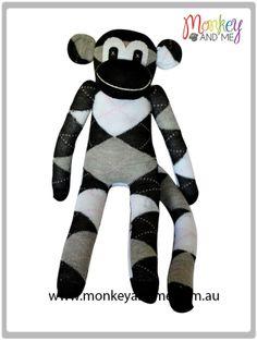 Black White Grey argyle Sock Monkey  Adopt over at monkeyandme.com.au #sockmonkeys #gifts #toys