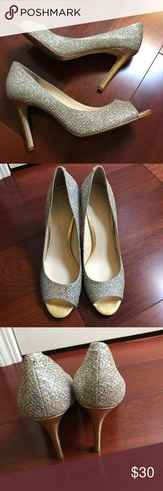 Enzo Angiolini Sparkle Heels Stunning heels! Like cinderella shoes! In good condition, bottoms have some wear. Enzo Angiolini Shoes Heels