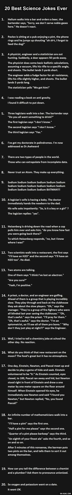 20 best science jokes ever… Do you get them all? - 9GAG