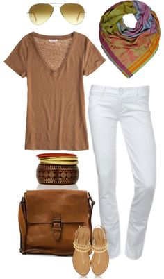 Tan tee, white skinny ankle jeans, multicolored scarf. Easy summer style.