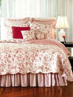 Williamsburg Brighton Red Toile Shabby Chic French Country Quilt - guest room