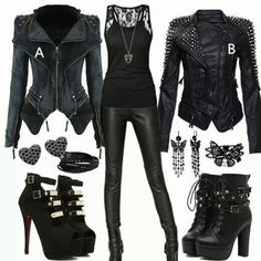 Black on black leather outfit Black on Black Leather outfit Black on Black Le. Black on black leather outfit Black on Black Leather outfit Black on Black Leather outfit Lisa Just - # Cute Emo Outfits, Bad Girl Outfits, Teenage Outfits, Teen Fashion Outfits, Cute Emo Clothes, Black Outfits, Emo Fashion, Gothic Fashion, Badass Outfit