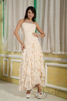 A-line Strapless Stretch Satin Chiffon Asymmetrical Prom Dress