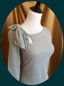 Make OFFER ❤️ Anthropologie Green Metallic Sweater by Deletta Size Small | eBay