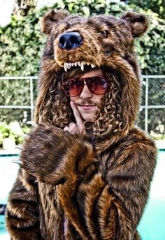 I can't believe I'm repining this.... Zach got me hooked on the stupid show, Workaholics. This is Blake and of course, he owns a bear coat that he wears to work. LOL!