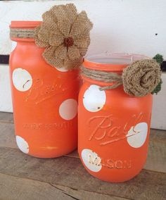 Bright coral and white polka dot painted mason jars rustic decor home decor mason jars  on Etsy, $16.00