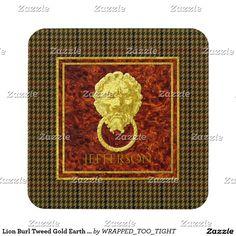 Lion Burl Tweed Gold Earth Tones Beverage Coaster