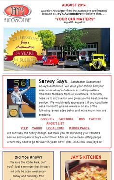 Jay's Automotive's #YourCarMatters #Weekly #Newsletter is ready! Did you know that walking on grass is good for your health? We did not know that! A 60 second tribute to #RobinWilliams that you will give you a tear. #passthetissues A great #summerrecipe from #JaysKitchen - Loaded Baked Potato & Sausage Casserole. #delicious Ohhh, and just in time for tailgating season, how to become the #Grillmaster by #MichaelSimon.