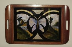 Vintage 1950s Wood Serving Tray with Inlaid by OblitusThesauros