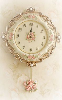 sweet rose clock for Rose Cottage ~Debbie Orcutt ❤