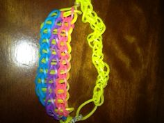 3-layered loom bracelet made by my oldest, using the scented bands we bought at A.C. Moore.