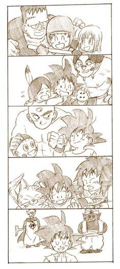 Goku with Android 8, Suno, Bora, Upa, Tien, Chiaotzu, Yajirobe, Korin, Kami, and Mr. Popo