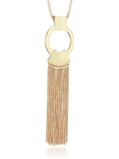 """Steve Madden Gold Metal Tribal Fringe Pendant Necklace, 35"""" + 3"""" Extender ❤ Steve Madden Jewelry"""