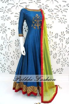 PalkhiFashion Exclusive Full Flair Blue Soft Silk Outfit with Elegant Hand Work & Contrast Duppata Indian Attire, Indian Ethnic Wear, Indian Designer Outfits, Designer Dresses, Designer Clothing, Kurta Designs, Blouse Designs, Indian Dresses, Indian Outfits