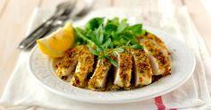Recette de Blancs de poulet en croûte d'herbes citronnée Croq'Kilos. Facile et rapide à réaliser, goûteuse et diététique.