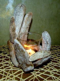 сплавная древесина,подсвечник