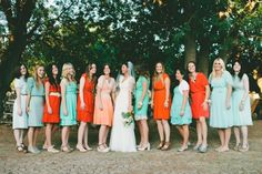 tangerine and aqua bridesmaid dresses // photo by CamiTakesPhotos.com