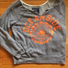 beach pullover grey low scoop Crewneck from American eagle American Eagle Outfitters Tops Sweatshirts & Hoodies