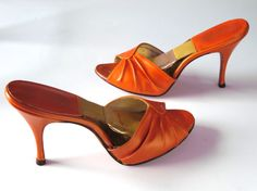 1950's Pumpkin Orange Patent Leather Stiletto Peep Toe Mules with Gold Spring-O-Lator Footbed by Grandini Magnificent Shoes Size 7 N