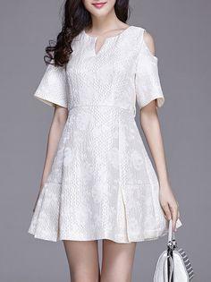 A-line Casual Short Sleeve #Mini #Dress