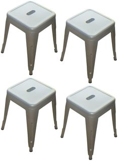 """""""Toledo"""" Replica Tolix Table Stool in Silver (Set of 4) – Simply Bar Stools"""