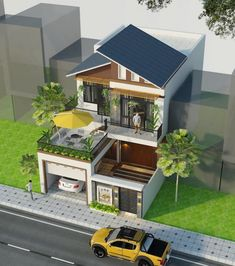 Small House Exteriors, Modern Small House Design, Modern House Facades, Modern Bungalow House, Modern Exterior House Designs, Minimalist House Design, Modern House Plans, Modern Architecture House, 2 Storey House Design