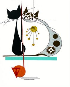 Atomic Mid Century Modern Cat Print Retro Art by COLBYandFRIENDS, $30.00