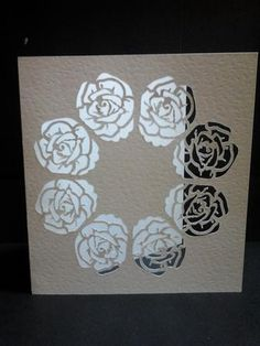 roses in a circle cut out card
