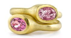 Bezel rings in 22k yellow gold with 1.52 ct. pink sapphire, $1,650 each; Dorian & Rose