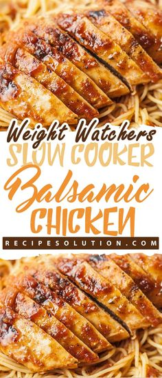 """With these recipes, it's now easier """"and tastier"""" than ever before to stay on track with your WW goals. Skinny Recipes, Ww Recipes, Slow Cooker Recipes, Crockpot Recipes, Cooking Recipes, Healthy Recipes, Balsamic Chicken Recipes, Slow Cooker Balsamic Chicken, Chicken"""