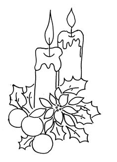Christmas Candles Coloring Pages Coloring For Adults Pinterest