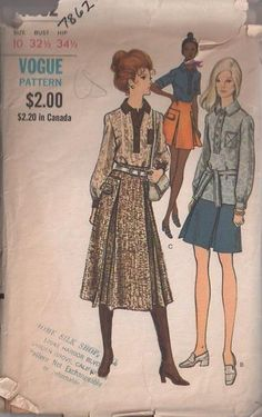 MOMSPatterns Vintage Sewing Patterns - Vogue 7862 Vintage 70's Sewing Pattern TOTALLY COOL Retro Secretary Collared Button Band Top, BLouse, Mini or Midi Skirt, Inverted Pleats