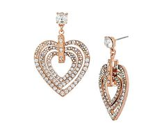 HOLIDAY PARTY CRYSTAL HEART DROP EARRINGS: Betsey Johnson