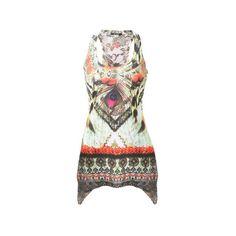 Pilot Aztec Print Hanky Hem Vest Top ($12) ❤ liked on Polyvore featuring tops, green, racer back tank, aztec print tank top, racer back tops, green top and green racerback tank
