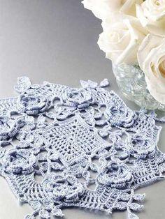 Crochet Doilies - Floral Doily Crochet Patterns - Blue Rose Doily