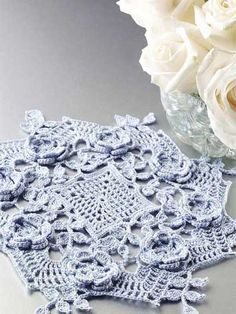 Blue Rose Doily