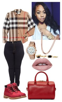 """......"" by dianelovett ❤ liked on Polyvore featuring Burberry, Timberland, Michael Kors, Charlotte Russe, Lime Crime and Yves Saint Laurent"