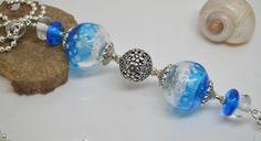 RESERVE collier 60 cm perles verre filé au chalumeau perle creuse bleu chaine argent 925 collier rose : Collier par liloo-creations