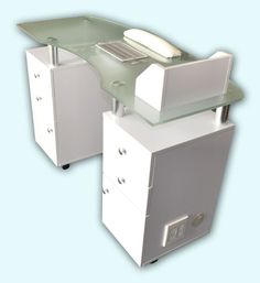 Glass top manicure table with draft vent product image for Nail table with vent