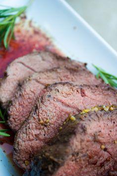 Roasted Beef Tenderloin with Gorgonzola Pepper Cream Sauce