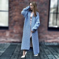 Chic women's cardigan knit - buy or order in an online shop on Livemaster - Moscow Crochet Coat, Knitted Poncho, Knit Cardigan, Tunisian Crochet Patterns, Raincoats For Women, Sweater Coats, Long Sweaters, Stylish Girl, Winter Outfits