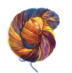 Spiders From Mars! These skeins are bursting with red/orange, yellow, blue, purple, and sometimes green. Variations can occur between skeins since they are all dyed one by one.  It's recommended that you wash your finish item by hand and lay flat to dry. This yarn was dyed using professional acid dyes. Although I rinse my skeins well, some bleeding may occur.  I try my best to portray colors accurately. Colors on computer monitors and mobile devices may vary.    Use ...