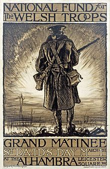 World War I poster for a fundraising event in support of Welsh troops. Lithograph designed by Frank Brangwyn in 1915.- Wikipedia, the free encyclopedia