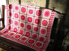 Happy Pink Posy Crochet Granny Blanket Afghan Sofa by Thesunroomuk, £115.00